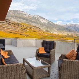 Cave des Bernunes - terrace overlooking the vineyards - Sierre - Valais